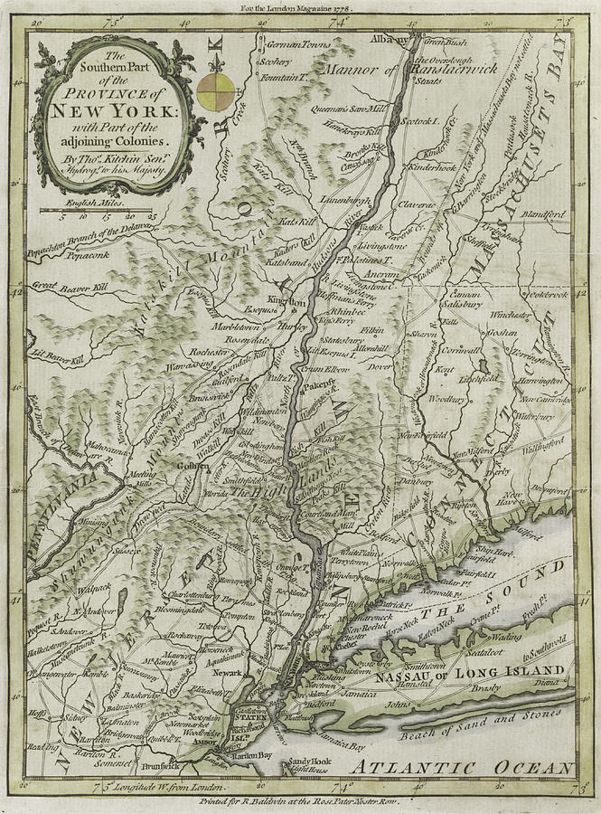Maps Painting - The Southern Part Of The Province Of New York by Thomas Kitchin