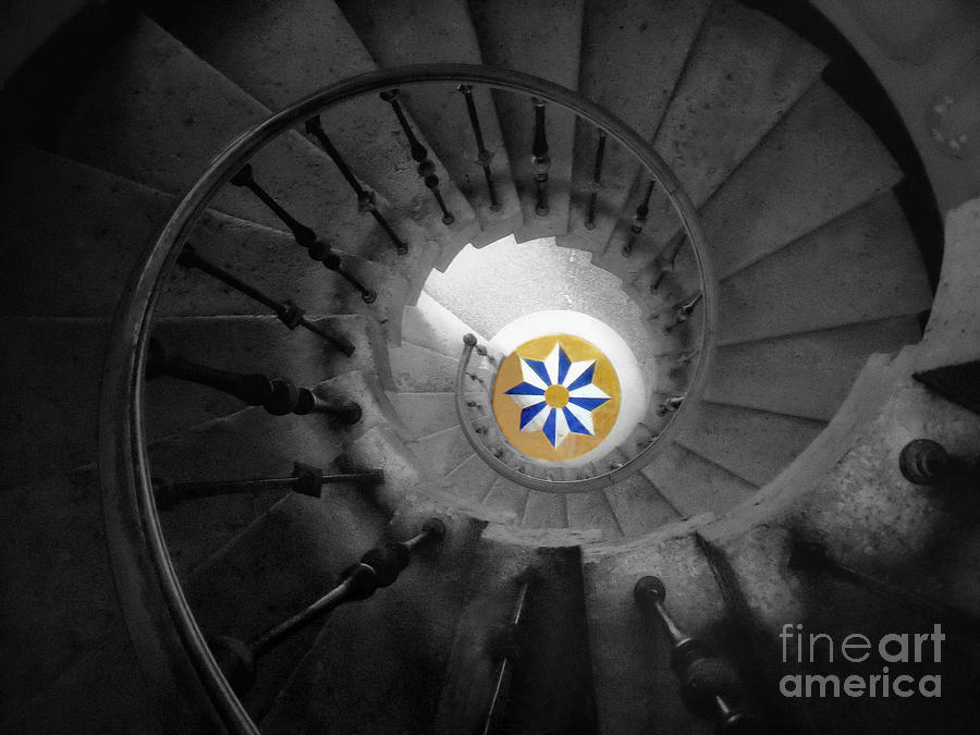 Stairs Photograph - The Spiral Staircase Of Villa Vizcaya Bwcolor by Mike Nellums