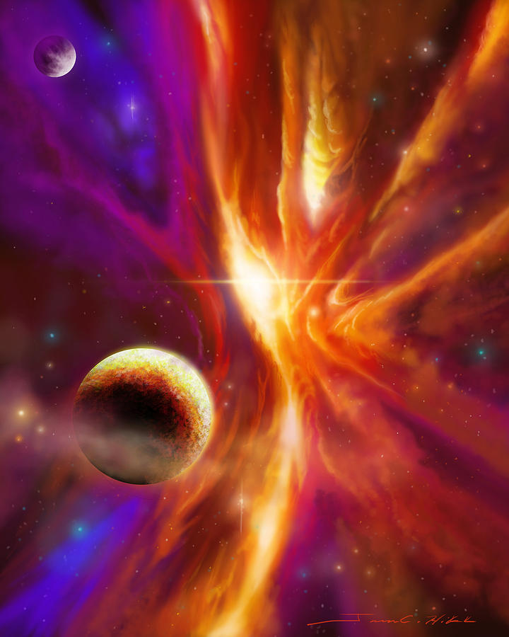 James Christopher Hill Painting - The Spirit Realm Of The Saphire Nebula by James Christopher Hill