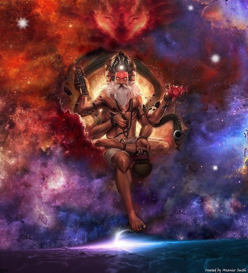 Brahma Digital Art - The Spiritual Essence Of Cosmic Creation by Arcanico Luca Smith Acquaviva