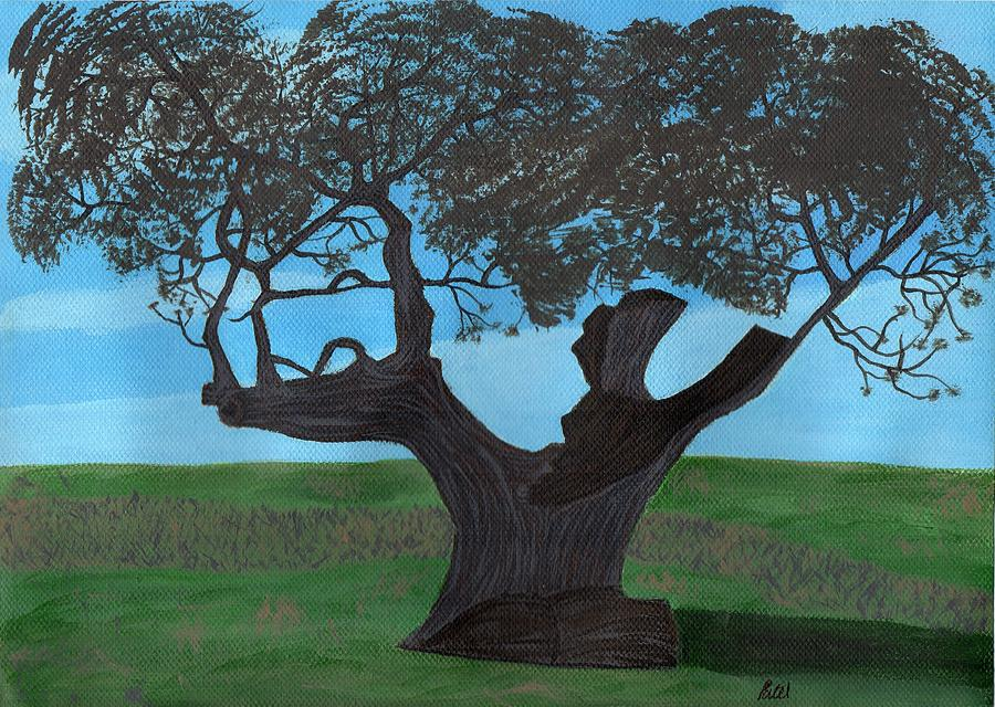 Landscape Painting - The Split Tree - Bradgate Park by Bav Patel