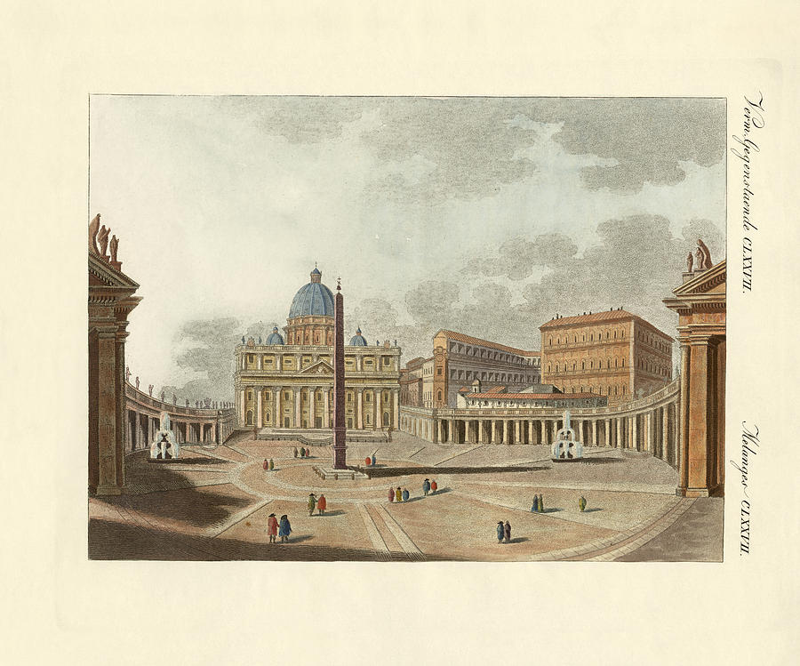 Buildings Drawing - The St. Peters Cathedral In Rome by Splendid Art Prints