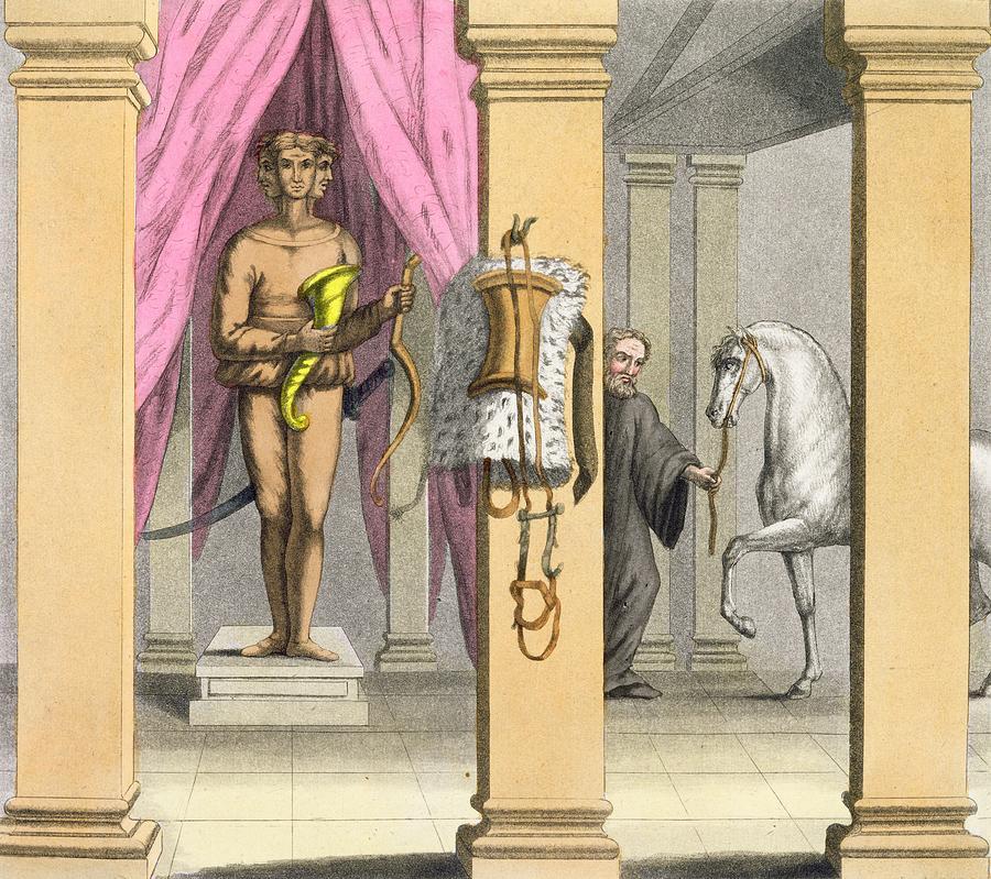 Caligula Drawing - The Stables Of Caligulas Horse by Angelo Biasioli