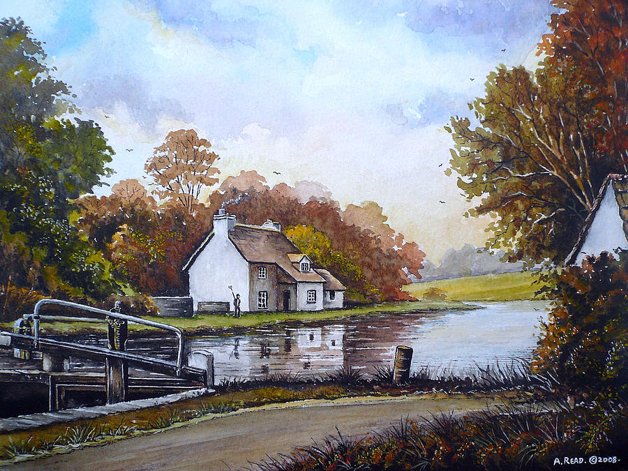 The Stafford And Worcestershire Canal Painting - The Staffordshire And Worcestershire Canal by Andrew Read