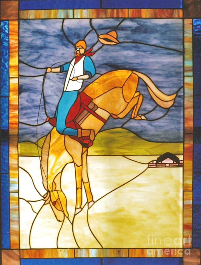 Stained Glass Photograph - The Stained Glass Cowboy Riding Out The Bucks by Patricia Keller