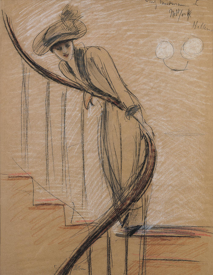 Woman Drawing - The Staircase by Paul Cesar Helleu
