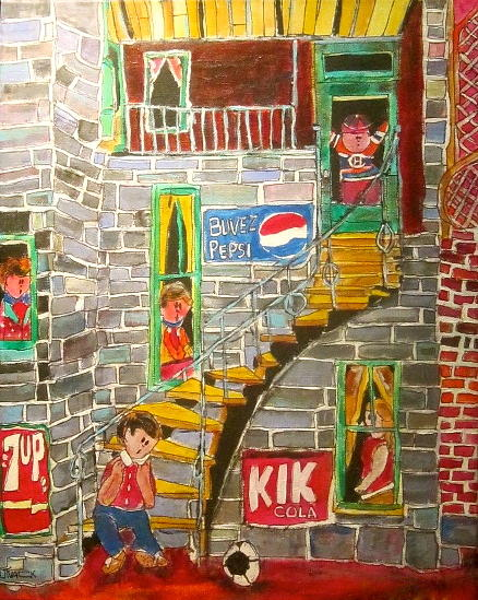 Outdoor Staircase Painting - The Staircase by Michael Litvack