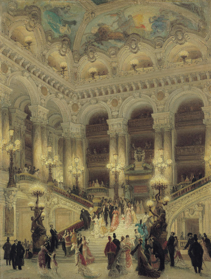 Theatre Painting - The Staircase Of The Opera by Louis Beroud