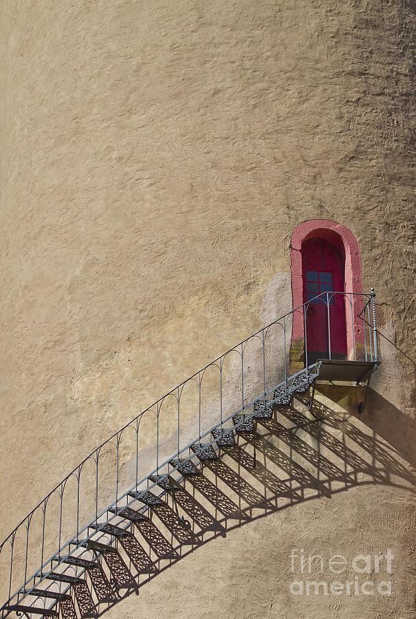 Castle Photograph - The Staircase To The Red Door by Heiko Koehrer-Wagner