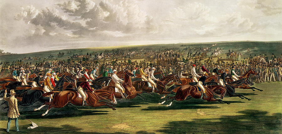 Horse Racing Painting - The Start Of The Memorable Derby Of 1844 by Charles Hunt