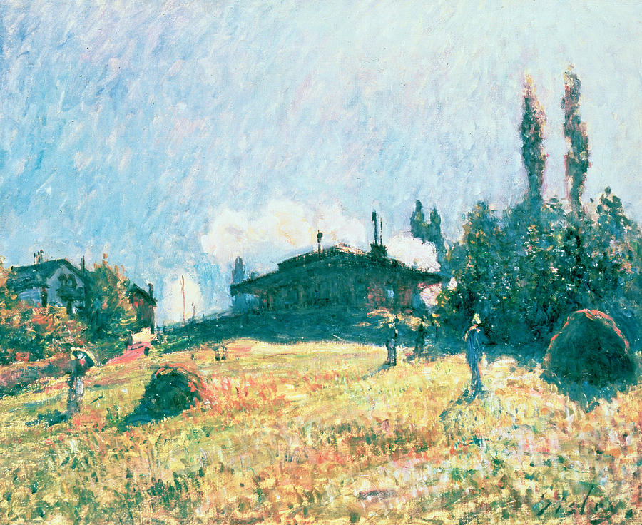 La Gare De Sevres; Steam Train; Impressionist; Landscape; Railway; Hillside Painting - The Station At Sevres by Alfred Sisley
