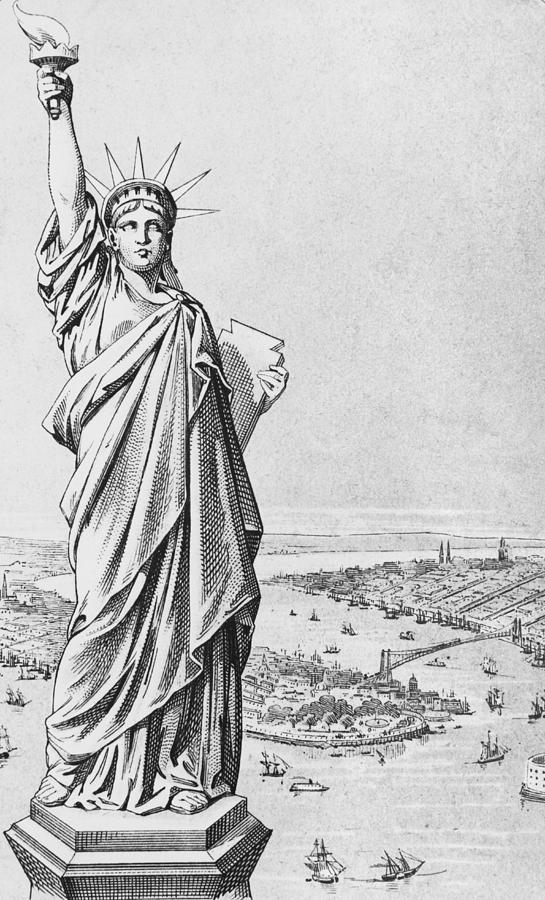New York Harbour Drawing - The Statue Of Liberty New York by American School