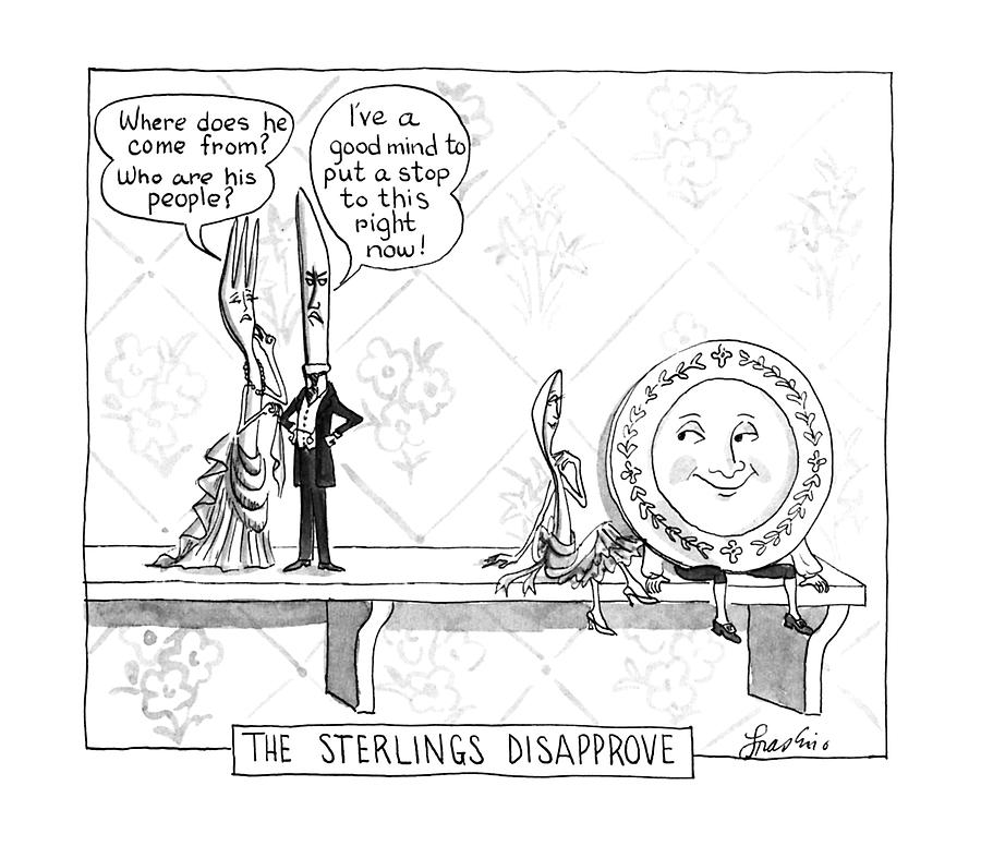 The Sterlings Disapprove: Drawing by Edward Frascino