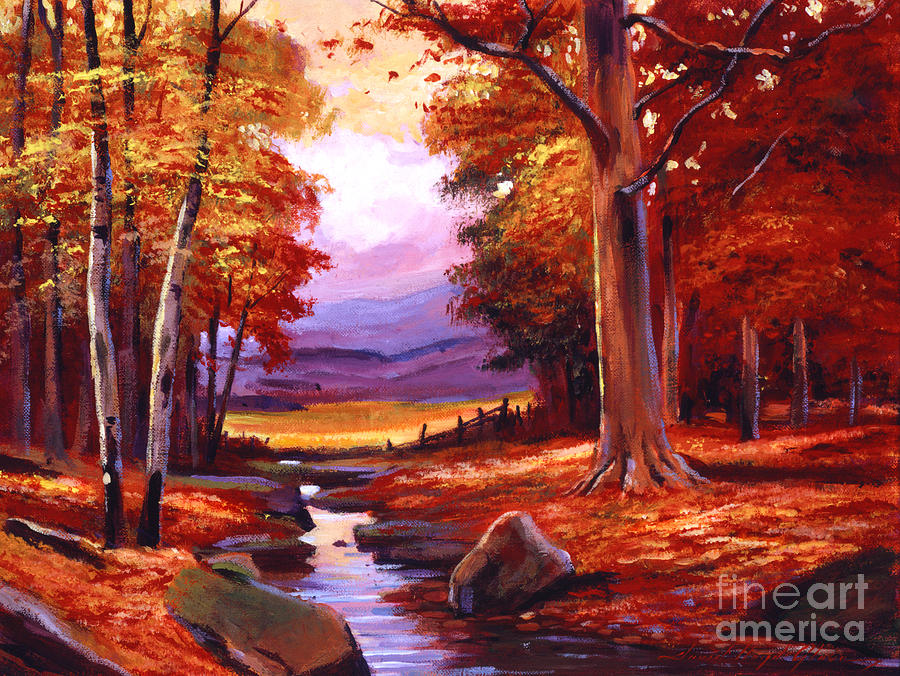 Autumn Painting - The Stillness Of Autumn by David Lloyd Glover
