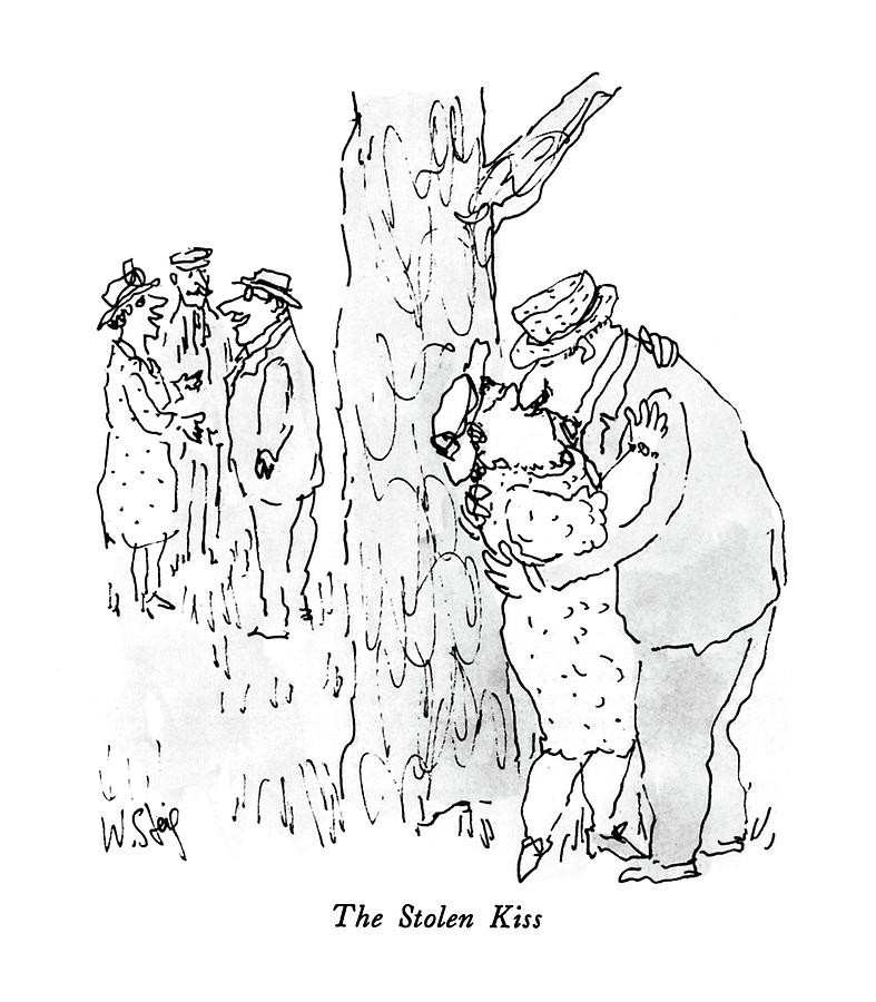 The Stolen Kiss Drawing by William Steig