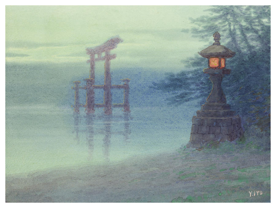 Japanese Painting - The Stone Lantern Cira 1880 by Aged Pixel