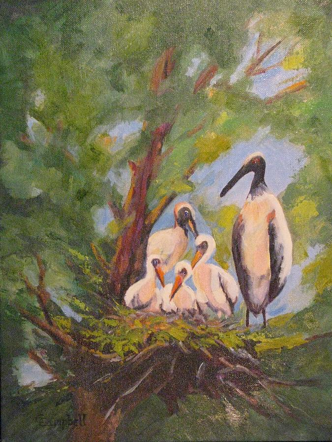 Wildlife Painting - The Stork Brought Them by Cecelia Campbell