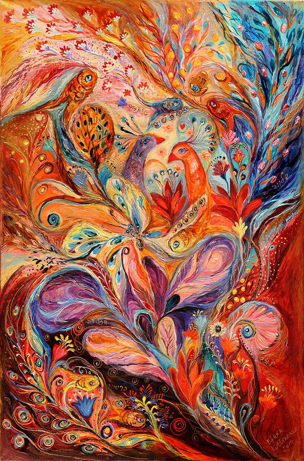 Jewish Art Prints Painting - The Story Of Wild Iris by Elena Kotliarker