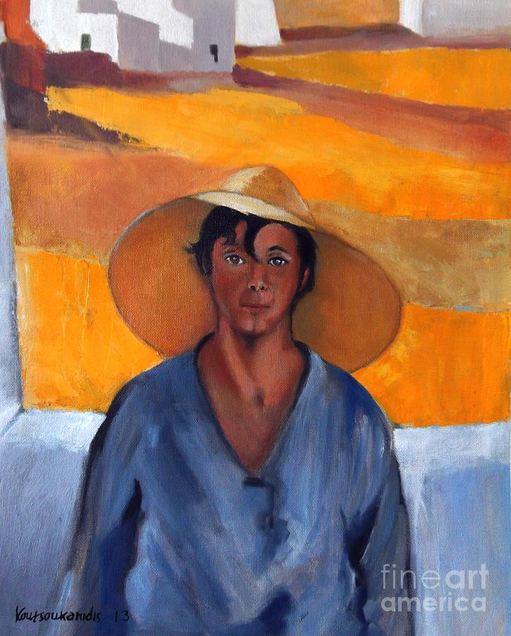 Lytras Painting - The Straw Hat - After Nikolaos Lytras by Kostas Koutsoukanidis