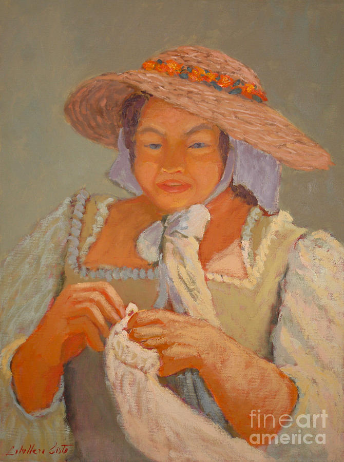 Portraits Painting - The Straw Hat by Monica Caballero
