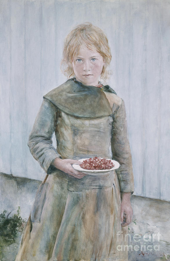 Girl Painting - The strawberry girl by Hans Heyerdahl
