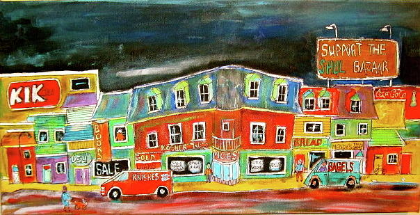 Bagels Painting - The Street by Michael Litvack