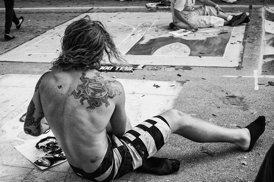 B W Photograph - The Street Painter by Armando Perez