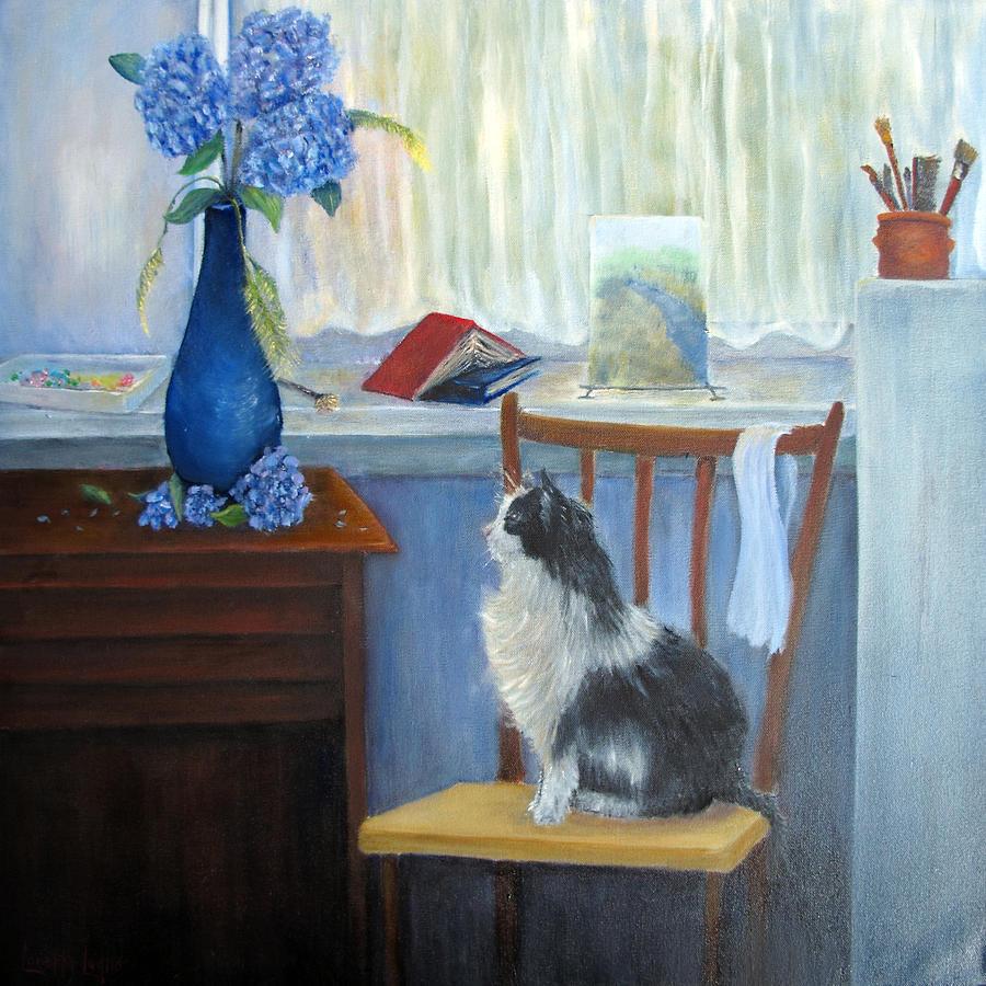 Cat Painting - The Studio Cat by Loretta Luglio