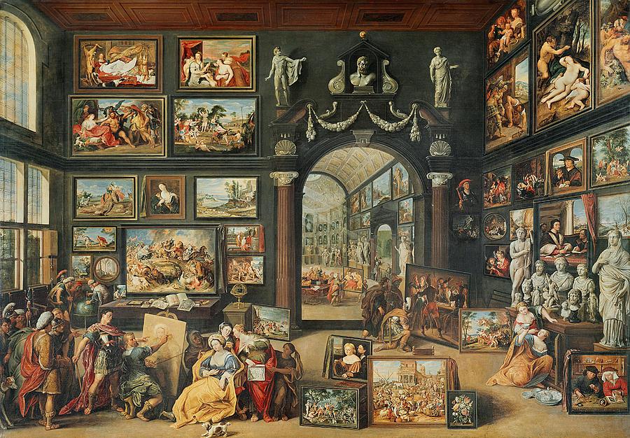 Artist's Studio Photograph - The Studio Of Apelles Oil On Panel by Willem van II Haecht