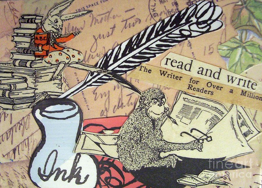 Book Drawing - The Studious Rabbit And The Monkey by Eloise Schneider