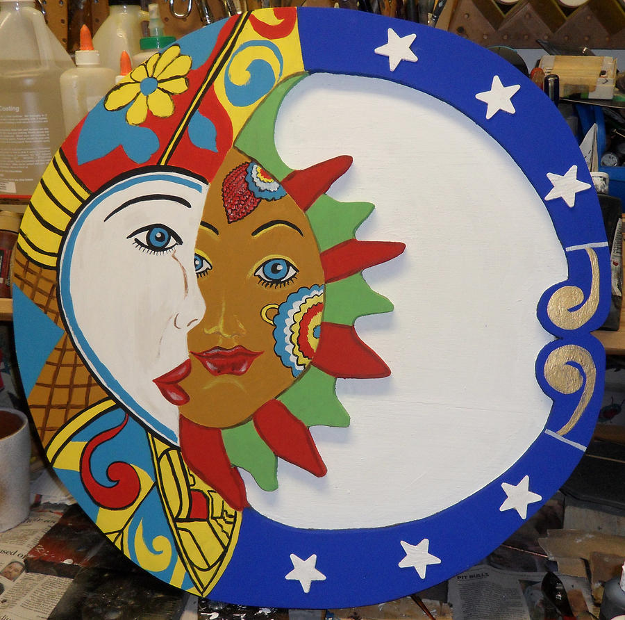 Sun And Moon Mixed Media - The Sun And The Moon by Val Oconnor