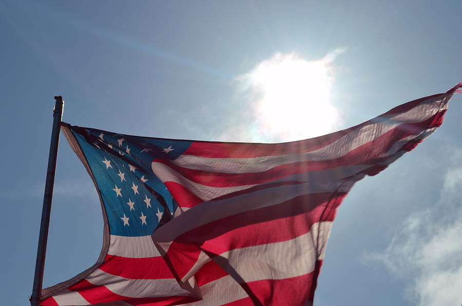 Flag Photograph - The Sun Of America 2 by Sheldon Blackwell