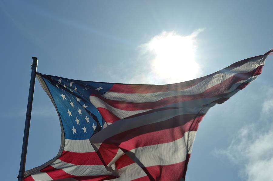 Flag Photograph - The Sun Of America by Sheldon Blackwell