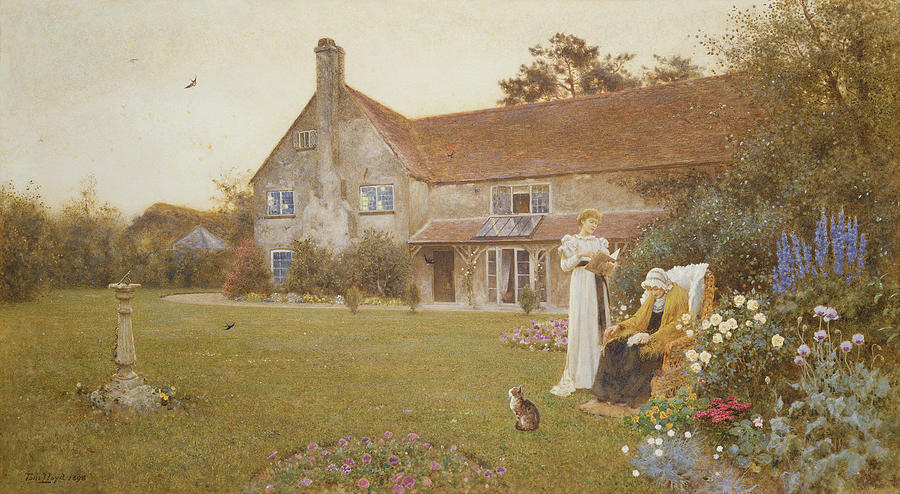 Garden Painting - The Sundial by Thomas James Lloyd