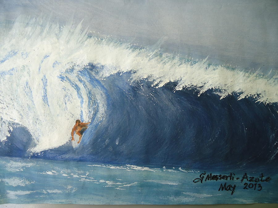 Waves Painting - The Surfing by Fladelita Messerli-