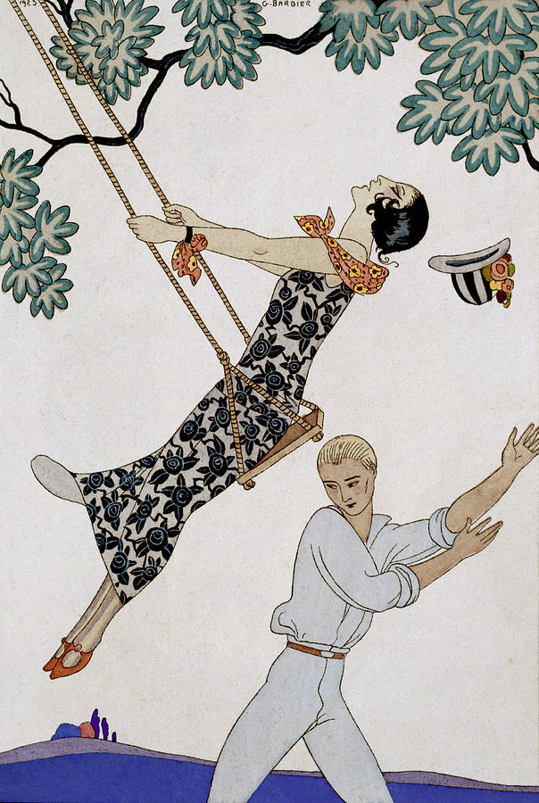 20s Painting - The Swing by Georges Barbier