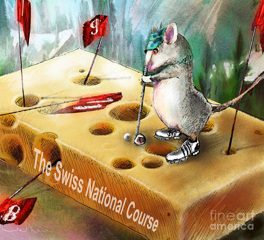 Golf Humour Painting - The Swiss National Course by Miki De Goodaboom