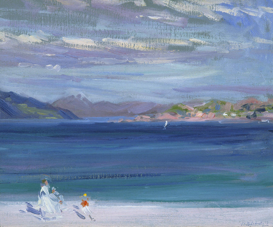 Figures Painting - The Tail Of Mull From Iona by Francis Campbell Boileau Cadell