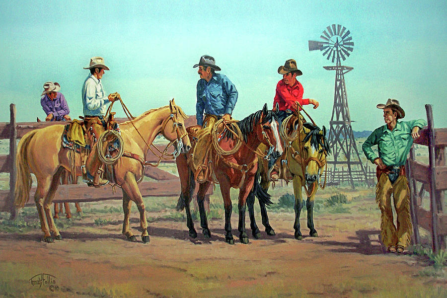 Cowboy. Horse Painting - The Tale Spinner by Randy Follis