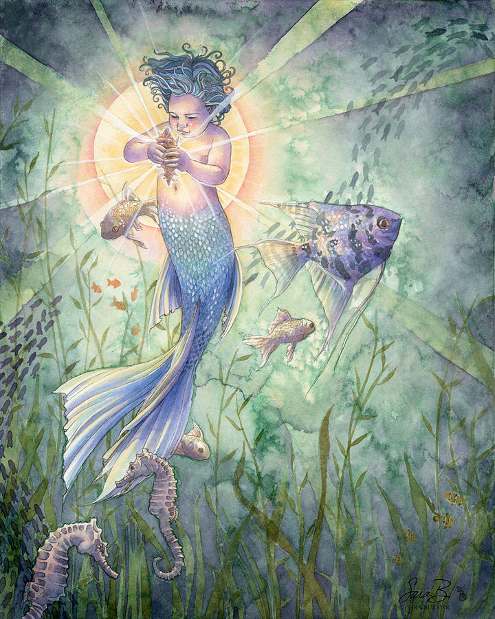 Mermaid Painting - The Talisman by Sara Burrier