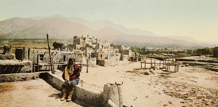 1890s Photograph - The Taos Pueblo by William Henry Jackson