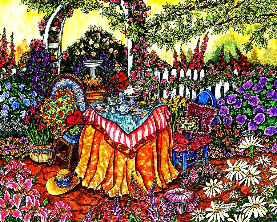 Tea Party Painting - The Tea Party by Sherry Dole