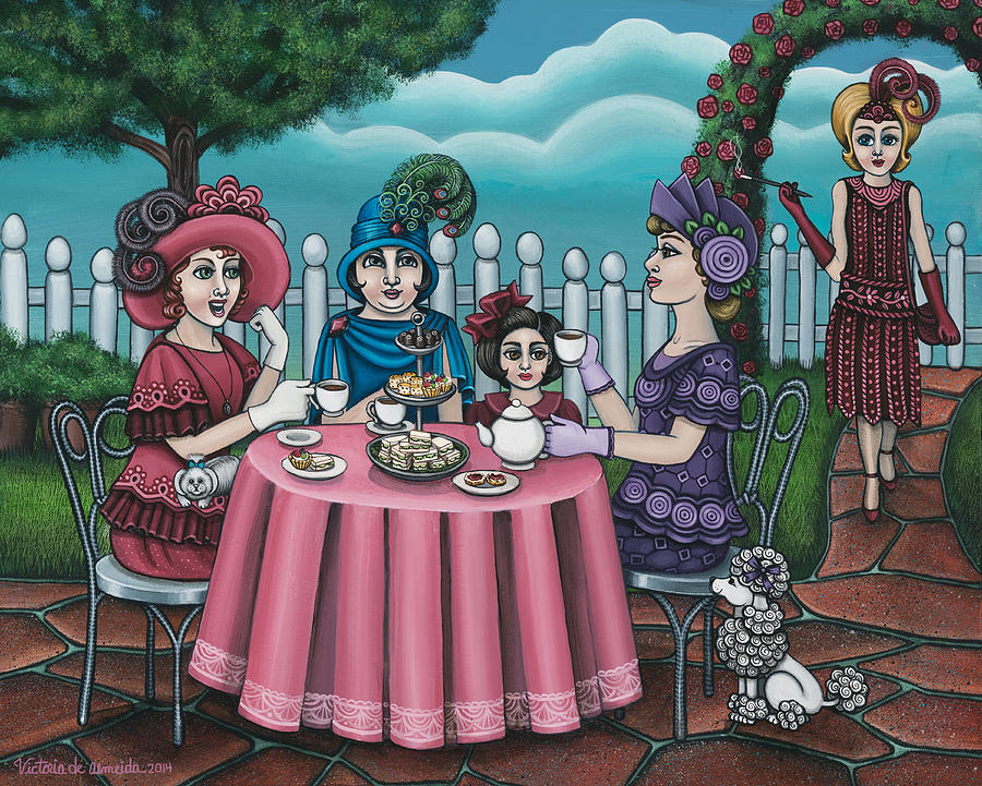 Tea Painting - The Tea Party by Victoria De Almeida