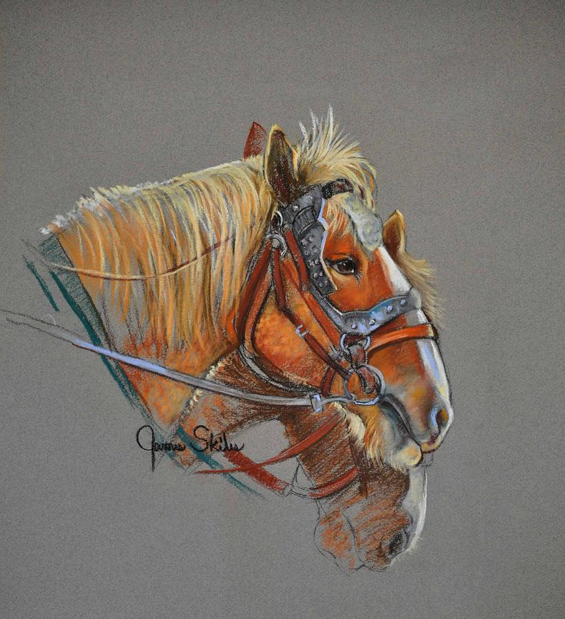 Horse Drawing Painting - The Team by James Skiles