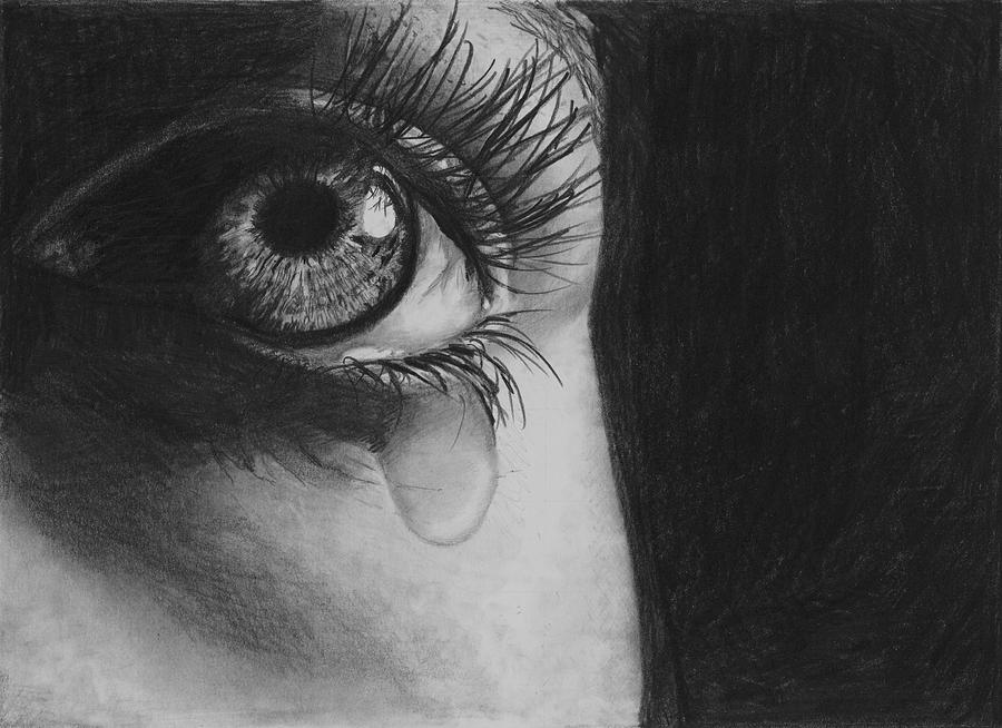 Eye Drawing - The Tear 2 by Andrew Dyson