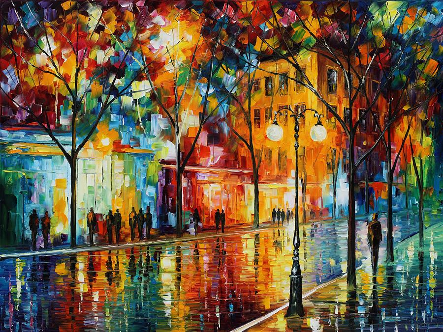 Leonid Afremov Painting - The Tears Of The Fall - Palette Knife Oil Painting On Canvas By Leonid Afremov by Leonid Afremov