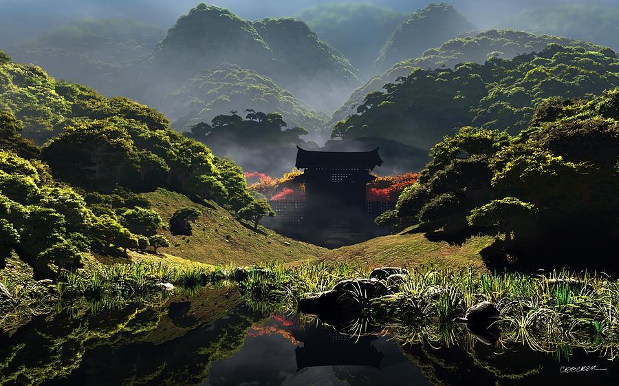 Green Digital Art - The Temple Of Perpetual Autumn by Cynthia Decker