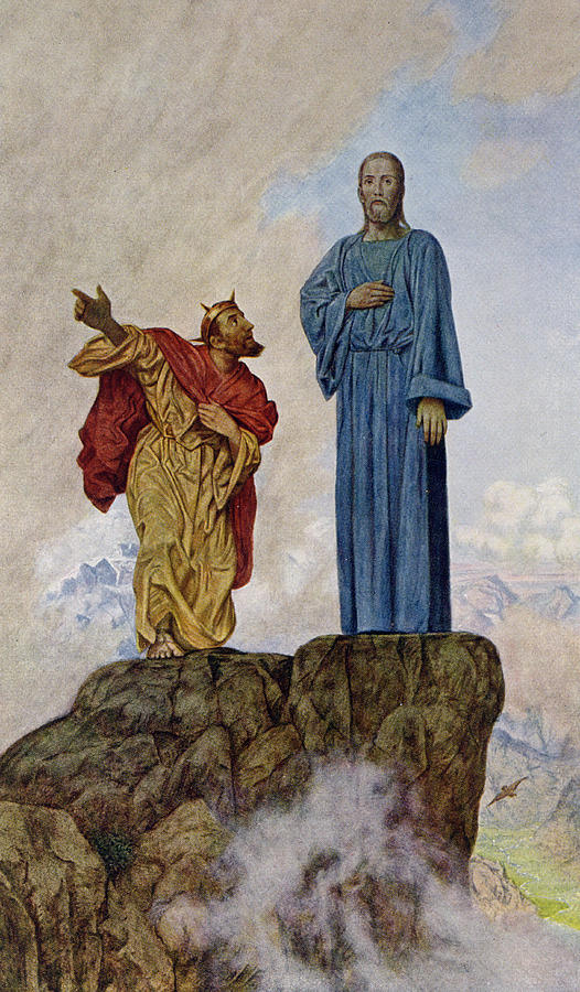 The Temptation Of Christ Painting - The Temptation Of Christ by Hans Thoma