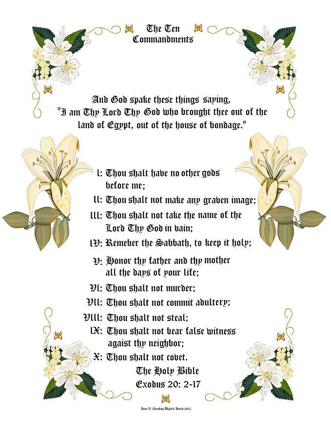 Ten Commandments Painting - The Ten Commandments by Anne Norskog