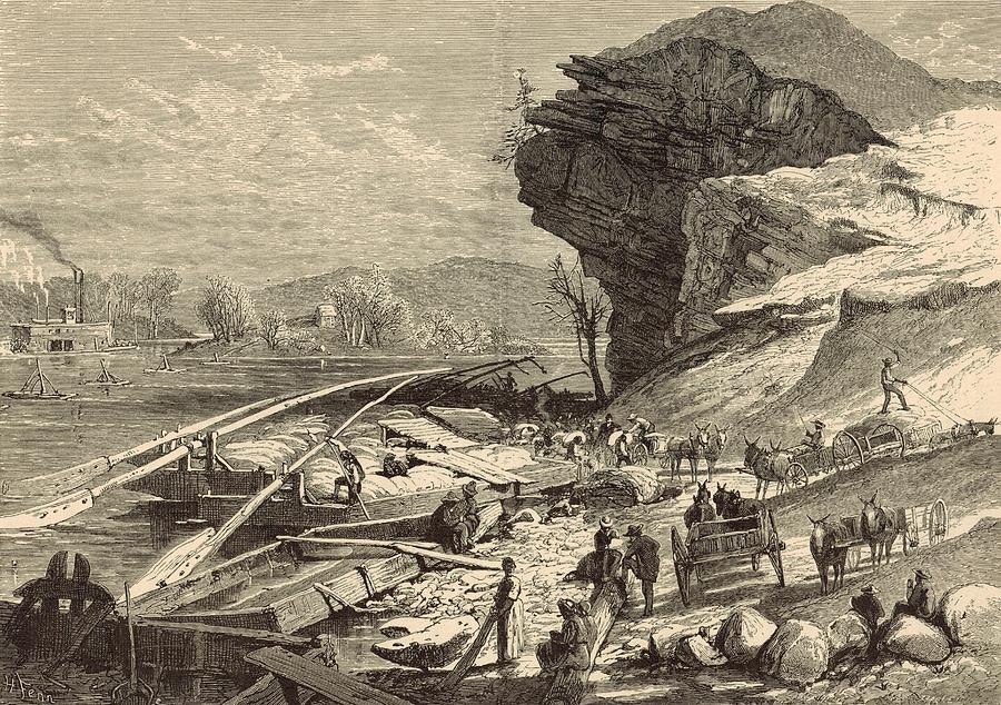 Tennessee River Painting - The Tennessee At Chattanooga 1872 Engraving by Antique Engravings
